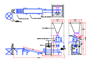 Layout for Single Lane Walnut Packing System with Sewing and Basic Palletizing